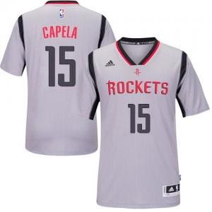 Maillot NBA Houston Rockets #15 Clint Capela Gris Adidas Swingman Alternate - Homme