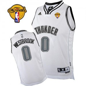 Maillot NBA Blanc Russell Westbrook #0 Oklahoma City Thunder Finals Patch Swingman Homme Adidas