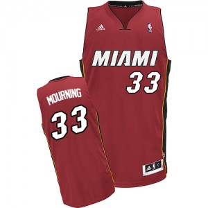 Maillot NBA Rouge Alonzo Mourning #33 Miami Heat Alternate Swingman Homme Adidas