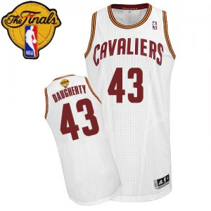 Maillot Adidas Blanc Home 2015 The Finals Patch Authentic Cleveland Cavaliers - Brad Daugherty #43 - Homme