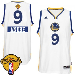 Maillot Adidas Blanc 2014-15 Christmas Day 2015 The Finals Patch Authentic Golden State Warriors - Andre Iguodala #9 - Homme