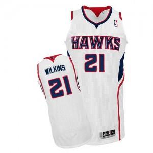 Atlanta Hawks Dominique Wilkins #21 Home Authentic Maillot d'équipe de NBA - Blanc pour Homme
