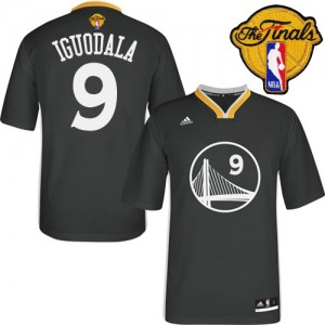 Maillot NBA Noir Andre Iguodala #9 Golden State Warriors Alternate 2015 The Finals Patch Authentic Homme Adidas