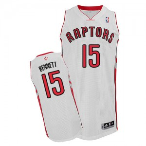 Maillot NBA Toronto Raptors #15 Anthony Bennett Blanc Adidas Authentic Home - Homme