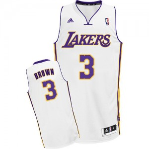 Maillot Adidas Blanc Alternate Swingman Los Angeles Lakers - Anthony Brown #3 - Homme