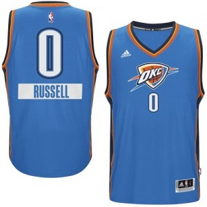 Maillot NBA Oklahoma City Thunder #0 Russell Westbrook Bleu Adidas Authentic 2014-15 Christmas Day - Homme