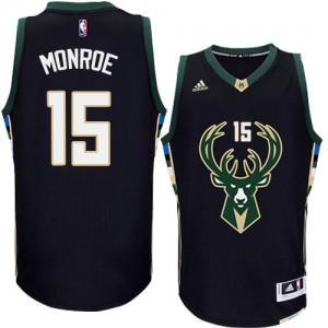 Milwaukee Bucks Greg Monroe #15 Alternate Authentic Maillot d'équipe de NBA - Noir pour Homme