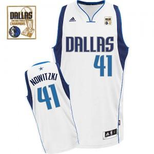 Maillot NBA Blanc Dirk Nowitzki #41 Dallas Mavericks Home Champions Patch Swingman Homme Adidas