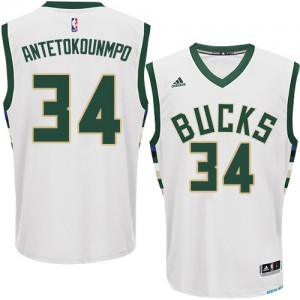 Maillot Adidas Blanc Home Authentic Milwaukee Bucks - Giannis Antetokounmpo #34 - Homme