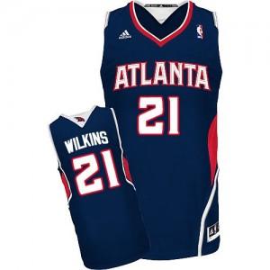 Atlanta Hawks Dominique Wilkins #21 Road Swingman Maillot d'équipe de NBA - Bleu marin pour Homme
