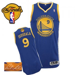 Golden State Warriors #9 Adidas Road Autographed 2015 The Finals Patch Bleu royal Authentic Maillot d'équipe de NBA pas cher en ligne - Andre Iguodala pour Homme