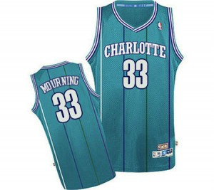 Charlotte Hornets Alonzo Mourning #33 Throwback Authentic Maillot d'équipe de NBA - Bleu clair pour Homme