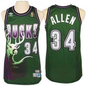 Maillot Adidas Vert New Throwback Authentic Milwaukee Bucks - Giannis Antetokounmpo #34 - Homme