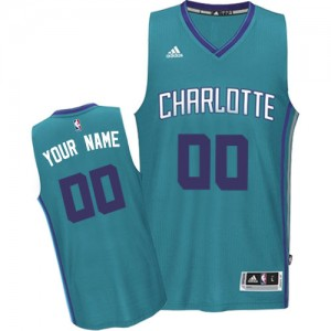 Maillot NBA Charlotte Hornets Personnalisé Authentic Bleu clair Adidas Road - Enfants