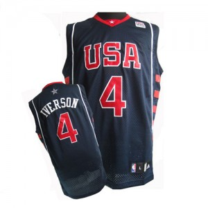 Maillot NBA Bleu marin Allen Iverson #4 Team USA Summer Olympics Authentic Homme Nike