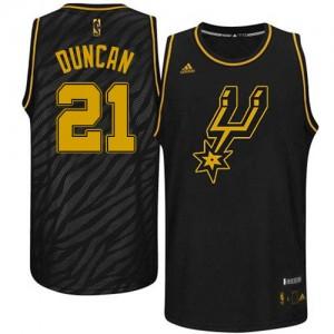 Maillot Adidas Noir Precious Metals Fashion Authentic San Antonio Spurs - Tim Duncan #21 - Homme