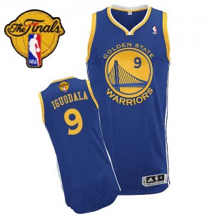 Golden State Warriors #9 Adidas Road 2015 The Finals Patch Bleu royal Authentic Maillot d'équipe de NBA Le meilleur cadeau - Andre Iguodala pour Homme
