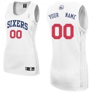 Philadelphia 76ers Personnalisé Adidas Home Blanc Maillot d'équipe de NBA Vente - Authentic pour Femme
