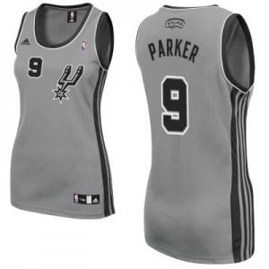 San Antonio Spurs Tony Parker #9 Alternate Swingman Maillot d'équipe de NBA - Gris argenté pour Femme