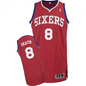 Maillot NBA Rouge Jahlil Okafor #8 Philadelphia 76ers Road Authentic Homme Adidas