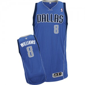 Maillot NBA Dallas Mavericks #8 Deron Williams Bleu royal Adidas Authentic Road - Homme