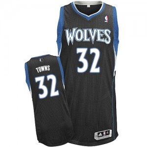 Maillot Authentic Minnesota Timberwolves NBA Alternate Noir - #32 Karl-Anthony Towns - Homme