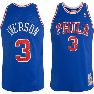 Maillot NBA Authentic Allen Iverson #3 Philadelphia 76ers Throwback Bleu - Homme