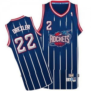 Maillot NBA Houston Rockets #22 Clyde Drexler Bleu marin Adidas Authentic Throwback - Homme