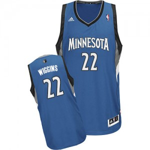 Maillot NBA Minnesota Timberwolves #22 Andrew Wiggins Slate Blue Adidas Swingman Road - Homme