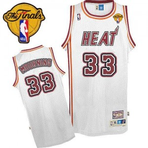 Miami Heat Alonzo Mourning #33 Throwback Finals Patch Swingman Maillot d'équipe de NBA - Blanc pour Homme