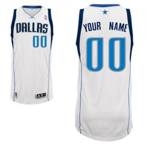 Maillot NBA Authentic Personnalisé Dallas Mavericks Home Blanc - Enfants