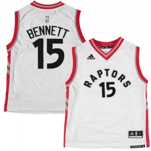 Maillot NBA Toronto Raptors #15 Anthony Bennett Blanc Adidas Authentic - Homme