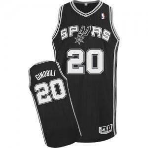 Maillot Authentic San Antonio Spurs NBA Road Noir - #20 Manu Ginobili - Homme
