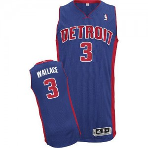 Maillot NBA Bleu royal Ben Wallace #3 Detroit Pistons Road Authentic Homme Adidas