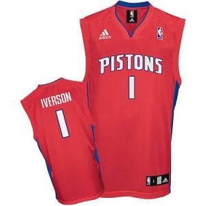Maillot NBA Rouge Allen Iverson #1 Detroit Pistons Swingman Homme Adidas