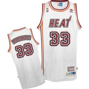 Maillot NBA Swingman Alonzo Mourning #33 Miami Heat Throwback Blanc - Homme