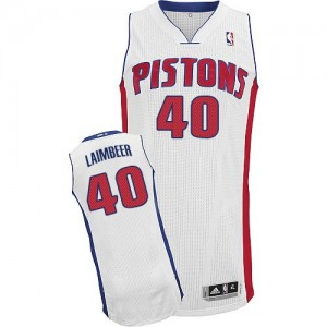 Maillot Authentic Detroit Pistons NBA Home Blanc - #40 Bill Laimbeer - Homme