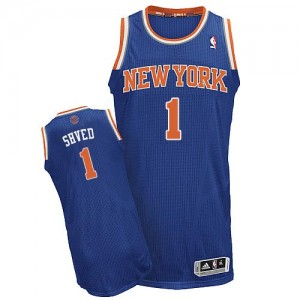 Maillot Adidas Bleu royal Road Authentic New York Knicks - Alexey Shved #1 - Homme