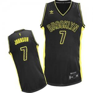 Brooklyn Nets Joe Johnson #7 Electricity Fashion Swingman Maillot d'équipe de NBA - Noir pour Homme