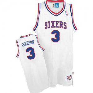 Maillot Authentic Philadelphia 76ers NBA Throwack Blanc - #3 Allen Iverson - Homme