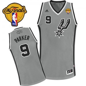 Maillot NBA San Antonio Spurs #9 Tony Parker Gris argenté Adidas Swingman Alternate Finals Patch - Homme
