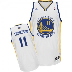 Maillot NBA Golden State Warriors #11 Klay Thompson Blanc Adidas Swingman Home - Homme