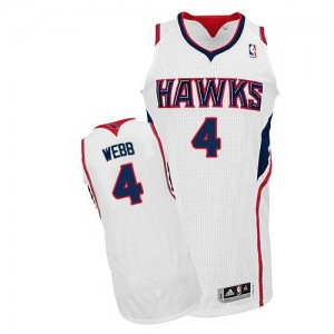 Maillot NBA Atlanta Hawks #4 Spud Webb Blanc Adidas Authentic Home - Homme