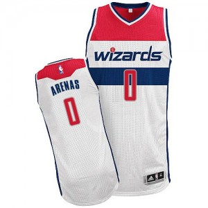Maillot NBA Washington Wizards #0 Gilbert Arenas Blanc Adidas Authentic Home - Homme