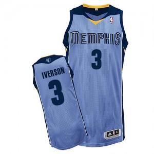 Maillot NBA Memphis Grizzlies #3 Allen Iverson Bleu clair Adidas Authentic Alternate - Homme