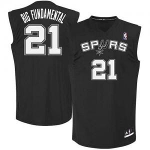 Maillot Adidas Noir Big Fundamental Authentic San Antonio Spurs - Tim Duncan #21 - Homme