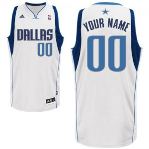 Maillot NBA Blanc Swingman Personnalisé Dallas Mavericks Home Homme Adidas