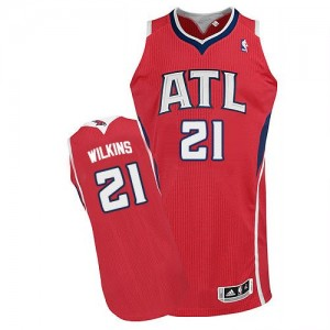 Atlanta Hawks Dominique Wilkins #21 Alternate Authentic Maillot d'équipe de NBA - Rouge pour Homme