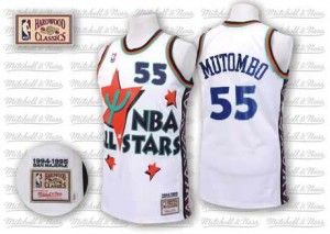 Maillot Authentic Denver Nuggets NBA Throwback 1995 All Star Blanc - #55 Dikembe Mutombo - Homme