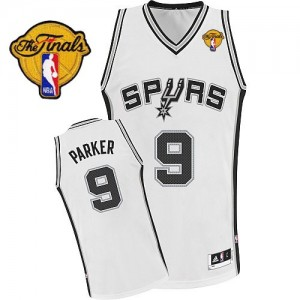 Maillot NBA Blanc Tony Parker #9 San Antonio Spurs Home Finals Patch Authentic Homme Adidas